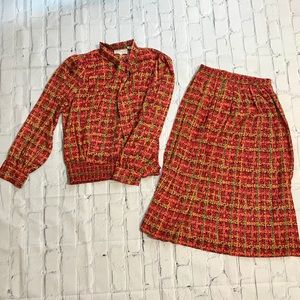 Vintage 80's Windowpane Plaid Blouse & Skirt Set
